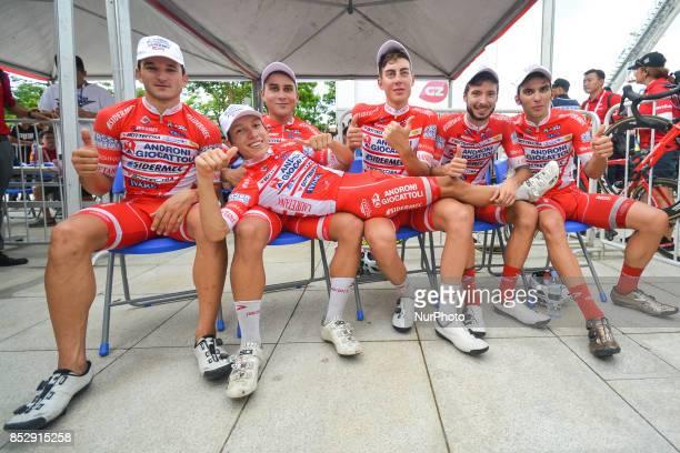 Marco Benfatto, Matteo Malucelli, Matteo Spreafico, Raffaello Bonusi and Luca Pacioni celebrate with their team-mate Kevin Rivera Serran the team and...