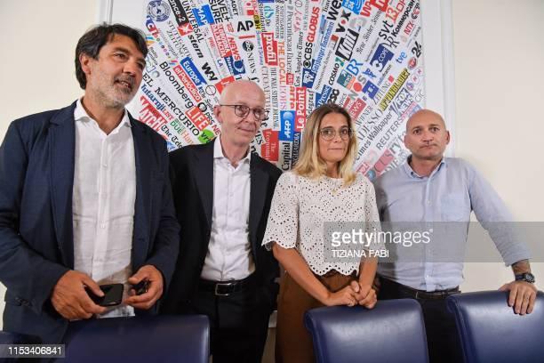Marco Bertotto Giorgia Linardi legal adviser in Italy for German hunmanitarian NGO SeaWatch Riccardo Noury and Filippo Miraglia attend a joint press...