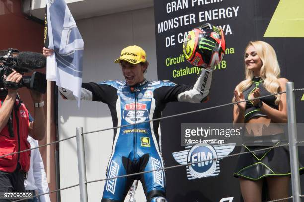 Marco Bezzecchi of Italy and Pruestel GP celebrates the second place on the podium at the end of the Moto3 race during the MotoGp of Catalunya Race...