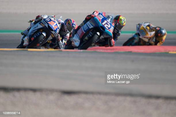 Marco Bezzecchi of Italy and Pruestel GP during the Moto3 race during the MotoGP of Aragon Race at Motorland Aragon Circuit on September 23 2018 in...