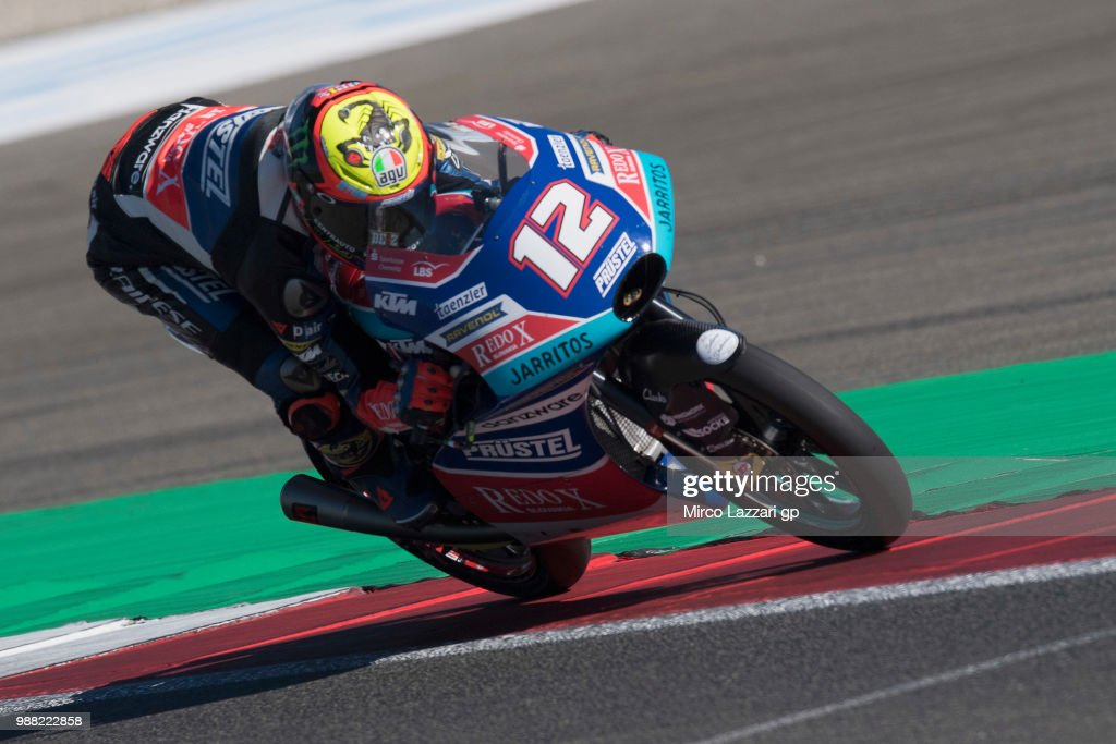 Marco Bezzecchi of Italy and Pruestel GP heads down a straight during the Qualifying practice during the MotoGP Netherlands - Qualifying on June 30, 2018 in Assen, Netherlands.