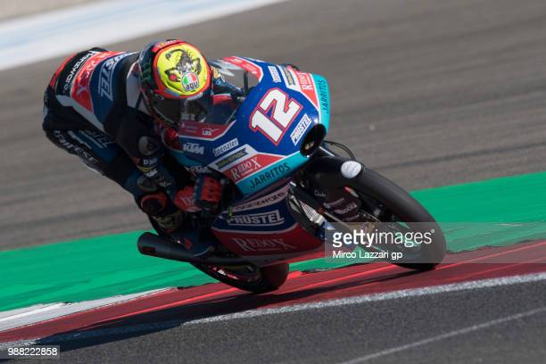 Marco Bezzecchi of Italy and Pruestel GP heads down a straight during the Qualifying practice during the MotoGP Netherlands Qualifying on June 30...