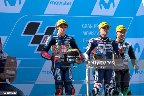 Marco Bezzecchi of Italy and Pruestel GP Jorge Martin of Spain and Del Conca Gresini Moto3 and Enea Bastianini of Italy and Leopard Racing celebrate...