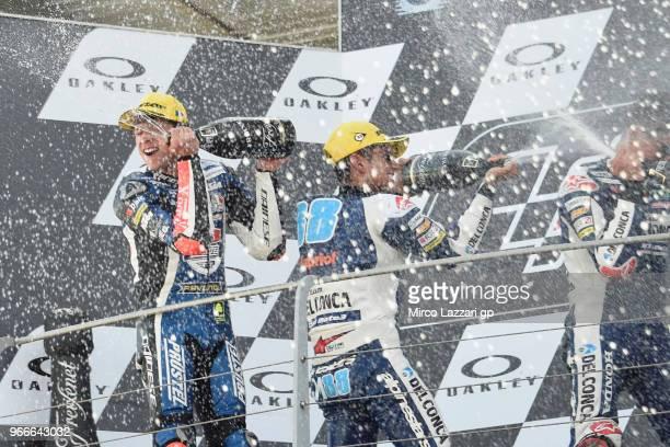 Marco Bezzecchi of Italy and Pruestel GP Jorge Martin of Spain and Del Conca Gresini Moto3 and Fabio Di Giannantonio of Italy and Del Conca Gresini...
