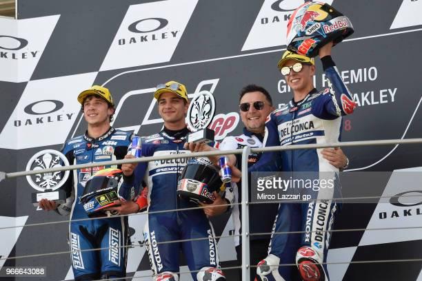 Marco Bezzecchi of Italy and Pruestel GP Jorge Martin of Spain and Del Conca Gresini Moto3 Fausto Gresini of Italy and GoFun Honda Gresini and Fabio...