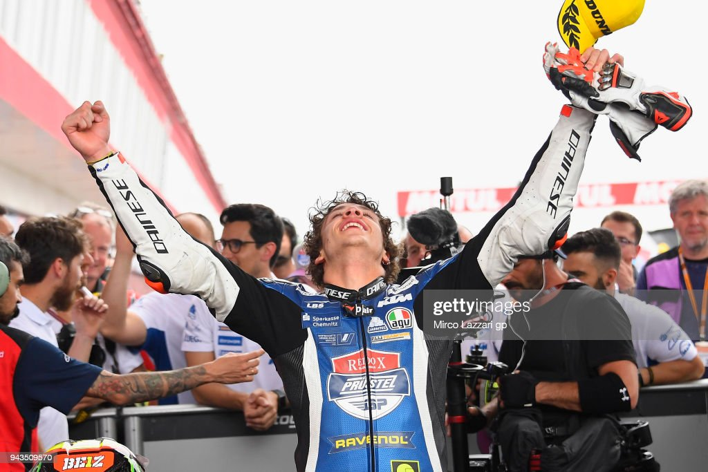 Marco Bezzecchi of Italy and Pruestel GP KTM celebrates the victory at the end of the Moto3 race during the MotoGp of Argentina - Race on April 8, 2018 in Rio Hondo, Argentina.