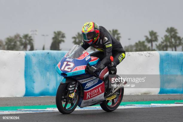 Marco Bezzecchi of Italy and Pruestel GP KTM heads down a straight during the Moto2 Moto3 Tests In Jerez at Circuito de Jerez on March 8 2018 in...