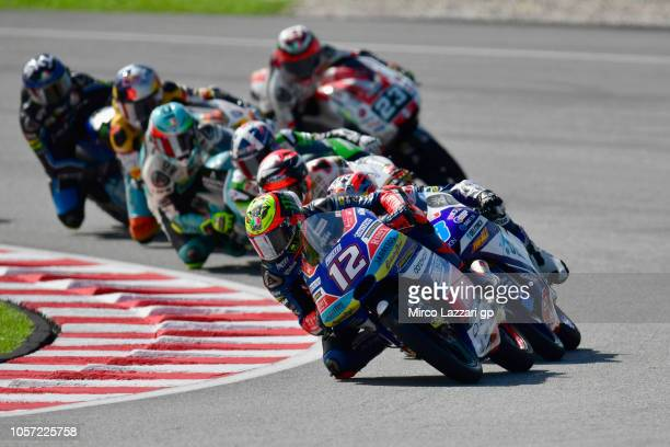 Marco Bezzecchi of Italy and Pruestel GP leads the field during the Moto3 race during the MotoGP Of Malaysia - Race at Sepang Circuit on November 4,...