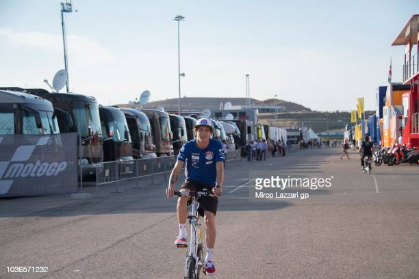 Marco Bezzecchi of Italy and Pruestel GP rides the bicycle in paddock during the MotoGP of Aragon Previews at Motorland Aragon Circuit on September...