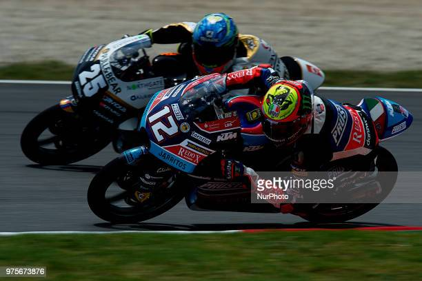 Marco Bezzecchi Of Italy And Redox Pruestelgp KTM and Raul Fernandez of Spain and Angel Nieto Team KTM during the free practice of the Gran Premi...
