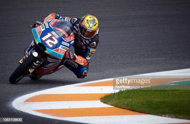 Marco Bezzecchi Of Italy And Redox Pruestelgp KTM during the qualifying of the Gran Premio Motul de la Comunitat Valenciana of world championship of...
