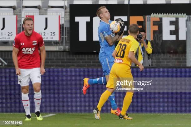 Marco Bizot of AZ Alkmaar Andrey Arshavin of FC Kairat during the UEFA Europa League match between AZ Alkmaar v Kairat at the AFAS Stadium on August...