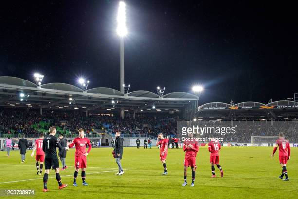 Marco Bizot of AZ Alkmaar, Ferdy Druijf of AZ Alkmaar, Myron Boadu of AZ Alkmaar during the UEFA Europa League match between Lask v AZ Alkmaar at the...