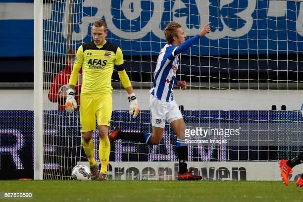 *Marco Bizot* of AZ Alkmaar *Michel Vlap* of SC Heerenveen celebrates 10 during the Dutch Eredivisie match between SC Heerenveen v AZ Alkmaar at the...