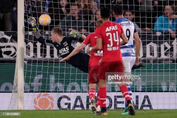 Marco Bizot of AZ Alkmaar scores a own goal to make it 11 during the Dutch Eredivisie match between De Graafschap v AZ Alkmaar at the De Vijverberg...