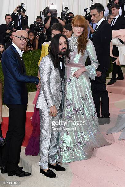 Marco Bizzarri Alessandro Michele and Florence Welch attend the Manus x Machina Fashion In An Age Of Technology Costume Institute Gala at...