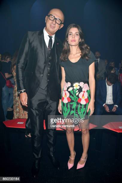 Marco Bizzarri and Charlotte Casiraghi attend the Gucci show during Milan Fashion Week Spring/Summer 2018 on September 20 2017 in Milan Italy