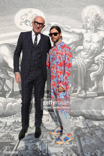 Marco Bizzarri and Jared Leto arrive at the Gucci show during Milan Fashion Week Autumn/Winter 2019/20 on February 20 2019 in Milan Italy