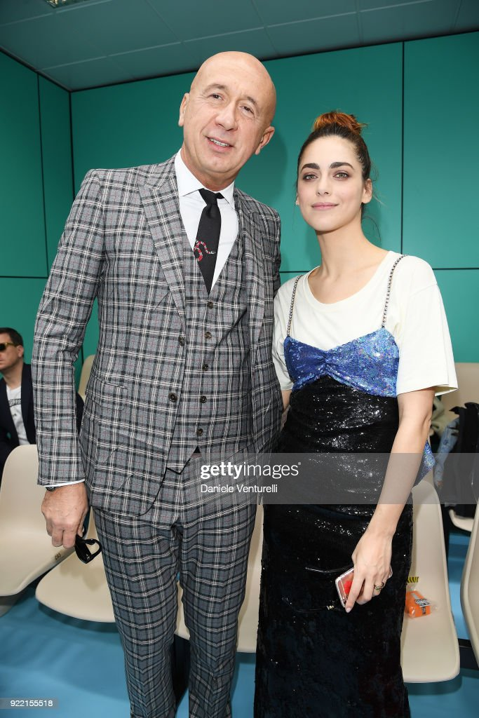 Marco Bizzarri and Miriam Leone attend the Gucci show during Milan Fashion Week Fall/Winter 2018/19 on February 21, 2018 in Milan, Italy.