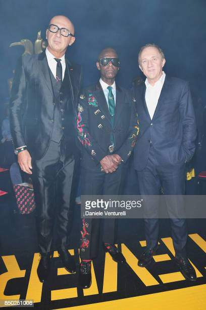 Marco Bizzarri Dapper Dan and FrancoisHenri Pinault attend the Gucci show during Milan Fashion Week Spring/Summer 2018 on September 20 2017 in Milan...
