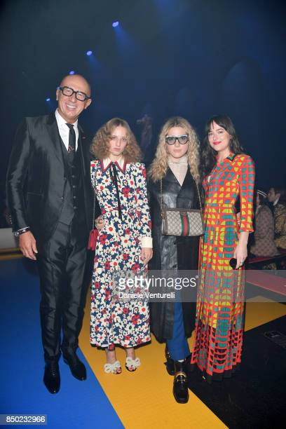 Marco Bizzarri Hari Nef Petra Collins and Dakota Johnson attend the Gucci show during Milan Fashion Week Spring/Summer 2018 on September 20 2017 in...