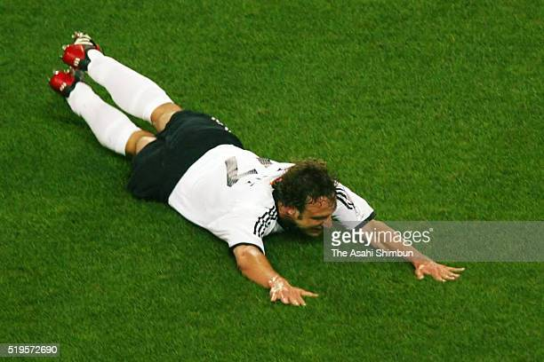Marco Bode of Germany celebrates scoring his team's first goal during the FIFA World Cup Korea/Japan Group E match between Cameroon and Germany at...
