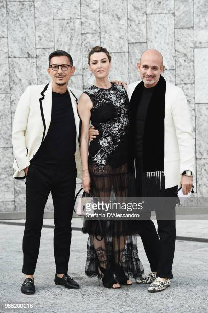 R Marco Bonaldo Maria Mantero and Alessandro Maria Ferreri arrive at Convivio 2018 on June 5 2018 in Milan Italy
