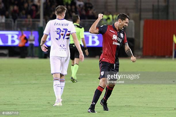 Marco Boriello of Cagliari celebrates a victory at the end of the Serie A match between Cagliari Calcio and UC Sampdoria at Stadio Sant'Elia on...