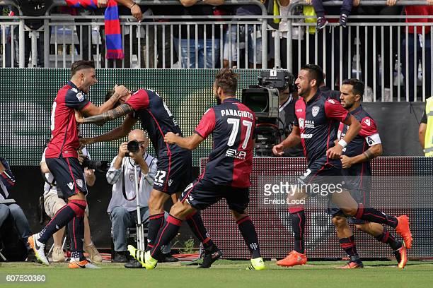 Marco Boriello of Cagliari celebrates the opening goal during the Serie A match between Cagliari Calcio and Atalanta BC at Stadio Sant'Elia on...