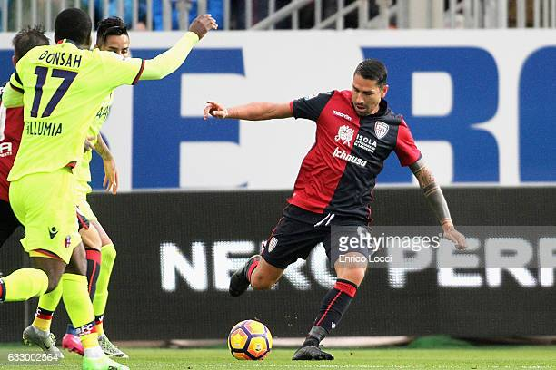 Marco Boriello of Cagliari in action during the Serie A match between Cagliari Calcio and Bologna FC at Stadio Sant'Elia on January 29 2017 in...