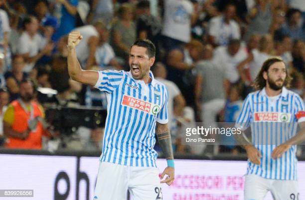 Marco Boriello of Spal celebrates after scoring his opening goal during the Serie A match between Spal and Udinese Calcio at Stadio Paolo Mazza on...