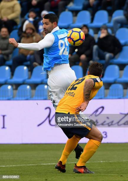 Marco Boriello of Spal competes for the ball whit Antonio Caracciolo of Hellas Verona during the Serie A match between Spal and Hellas Verona FC at...