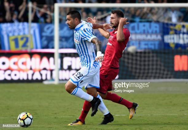 Marco Boriello of Spal competes for the ball whit Artur Ionita of Cagliari Calcio during the Serie A match between Spal and Cagliari Calcio at Stadio...