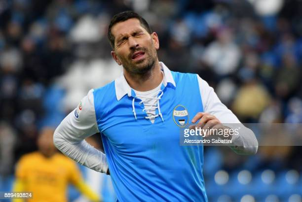 Marco Boriello of Spal reacts during the Serie A match between Spal and Hellas Verona FC at Stadio Paolo Mazza on December 10 2017 in Ferrara Italy