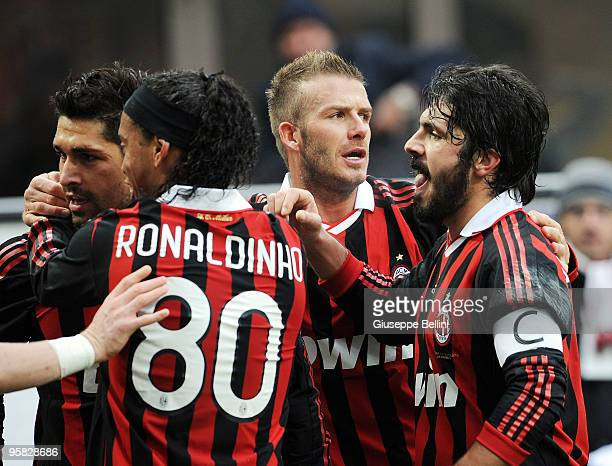 Marco Borriello and Ronaldinho and David Beckham and Gennaro Gattuso of Milan celebrate the goal during the Serie A match between Milan and Siena at...