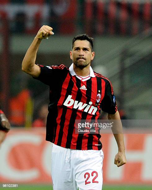 Marco Borriello of AC Milan celebrates after the first goal during the Serie A match between AC Milan and SS Lazio at Stadio Giuseppe Meazza on March...