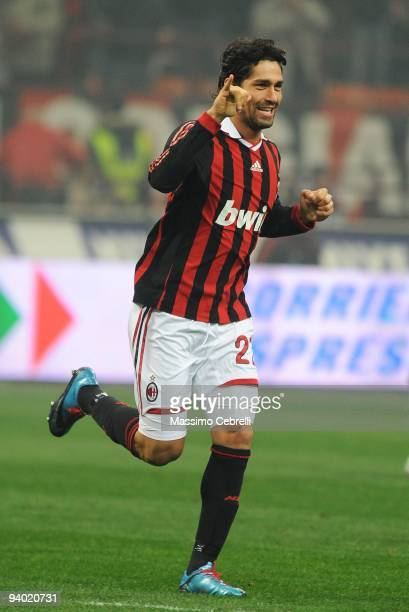 Marco Borriello of AC Milan celebrates his opening goal during the Serie A match between AC Milan and UC Sampdoria at Stadio Giuseppe Meazza on...