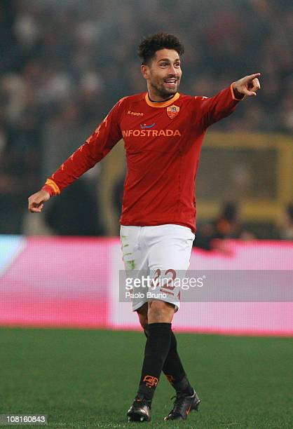 Marco Borriello of AS Roma celebrates after scoring the opening goal during the TIM Cup match between AS Roma and SS Lazio at Stadio Olimpico on...