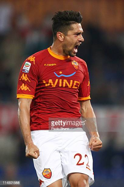 Marco Borriello of AS Roma celebrates after scoring the third goal for his team during the Serie A match between AS Roma and UC Sampdoria at Stadio...