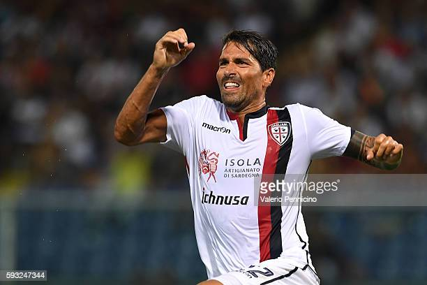 Marco Borriello of Cagliari Calcio celebrates after scoring the opening goal during the Serie A match between Genoa CFC and Cagliari Calcio at Stadio...