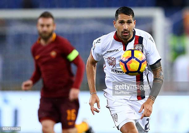 Marco Borriello of Cagliari Calcio in action during the Serie A match between AS Roma and Cagliari Calcio at Stadio Olimpico on January 22 2017 in...