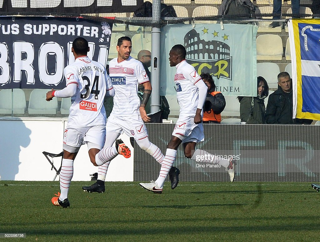 Marco Borriello of Carpi celebrates after scoring his opening goal during the Serie A match between Carpi FC and Juventus FC at Alberto Braglia Stadium on December 20, 2015 in Modena, Italy.