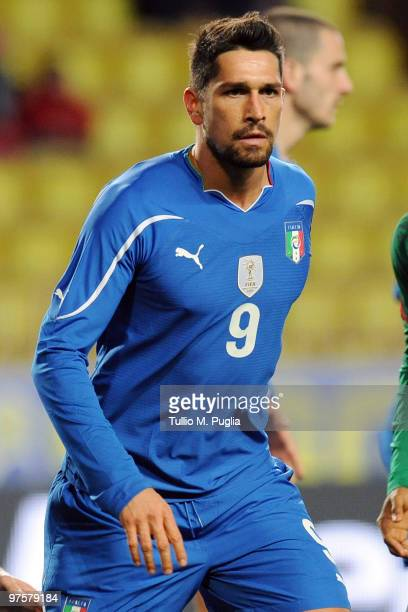 Marco Borriello of Italy looks on during the International Friendly match between Italy and Cameroon at Louis II Stadium on March 3 2010 in Monaco...