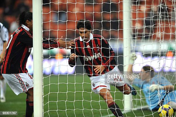 Marco Borriello of Milan celebrates after scoring their second goal during the Serie A match between Milan and Cagliari at Stadio Giuseppe Meazza on...