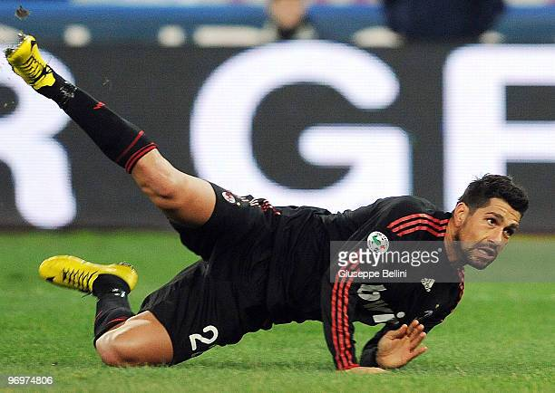 Marco Borriello of Milan in action during the Serie A match between AS Bari and AC Milan at Stadio San Nicola on February 21 2010 in Bari Italy
