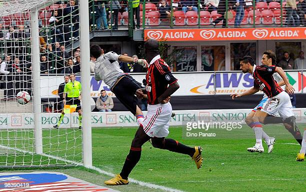 Marco Borriello of Milan scores his first Milan's goal during the Serie A match between AC Milan and Catania Calcio at Stadio Giuseppe Meazza on...