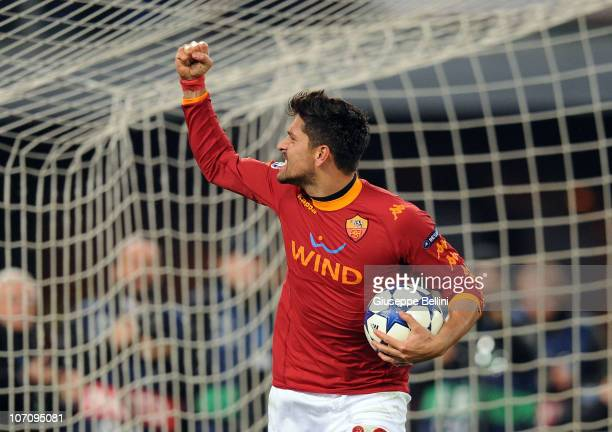 Marco Borriello of Roma celebrates after scoring the goal 12 during the UEFA Champions League Group E match between AS Roma and FC Bayern Muenchen at...
