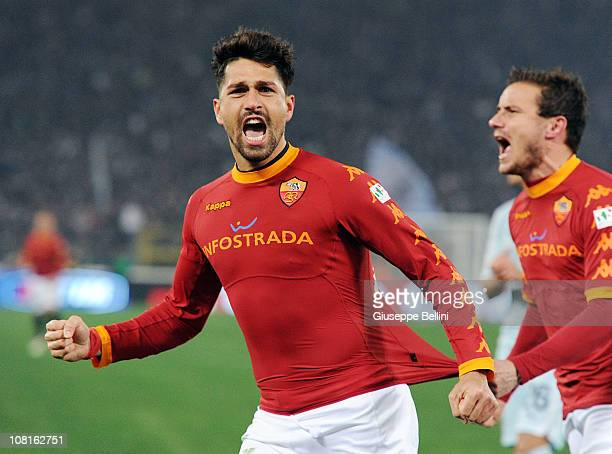 Marco Borriello of Roma celebrates after scoring the opening goal during the TIM Cup match between AS Roma and SS Lazio at Stadio Olimpico on January...