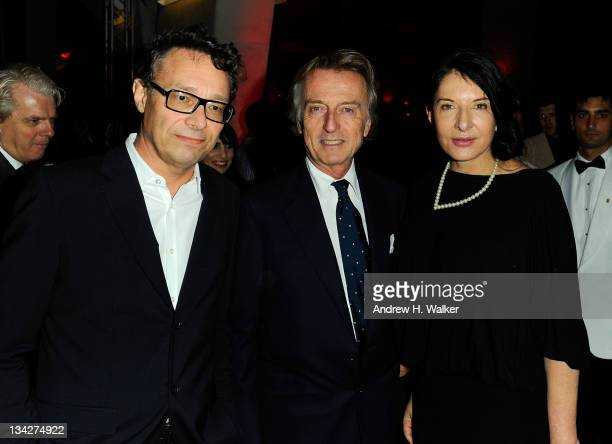 Marco Brambilla Luca di Montezemolo and Marina Abramovic attend the celebration of Ferrari's chairman Luca di Montezemolo hosted by Interview's Peter...