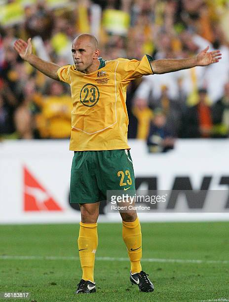 Marco Bresciano of Australia celebrates his goal during the second leg of the 2006 FIFA World Cup qualifying match between Australia and Uruguay at...